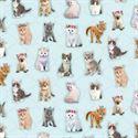 Bild på Light Aqua Standing Kitties Digitally Printed